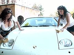 Make sure you take your time with this hot scene where these sexy ladies will give you a boner as you see their huge natural breasts while they wash a car.