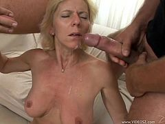 Slim blonde mom Helena is trying hard to satisfy many men. She admires the dudes with her cock-sucking abilities, then allows them pound her shaved twat and use her natural tits as a cum target.