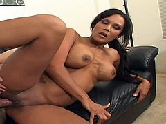 The sexy brunette Anjanette Astoria gets a nasty creampie in her hot pussy after getting a hardcore doggystyle fuck on the couch.