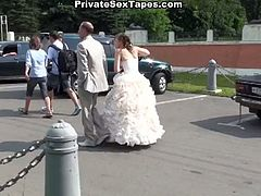 Check out his horny brunette russian girlfriend begging for a nice outdoor fuck. She sucks his cock and then rides like a real nymho!