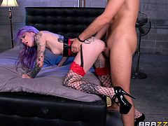 Make sure you check out this hardcore scene where the sexy suicide babe Krysta Kaos shows off her sexy tattooed body while being fucked until she's covered by semen.
