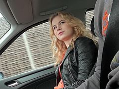 Curly-haired blonde Nishe, wearing a denim miniskirt, is playing dirty games with a man in a car. Nishe gives a deepthroat blowjob to the guy and lets him drill her shaved pussy from behind.