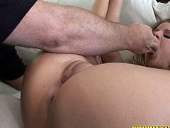 Cute solo model with natural tits in high heels gets a facial pounding before enjoying her shaved pussy being logged in compactly with a massive dick
