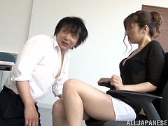 Masturbate as you watch this Asian brunette, with a nice ass wearing a miniskirt, while she gets fucked hard by a kinky dude in a reality video.