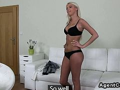 Stunning blonde amateur banging on casting