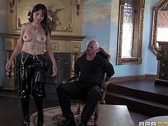 Cytherea is a smoking hot brunette milf that ends up with her face covered by semen after being fucked by a large cock.