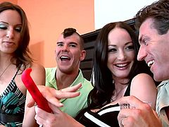 Melissa Lauren and Amber Rayne get their cunts banged by two bastards