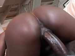 Bootyful black chick rides her lover's dick in cowgirl position