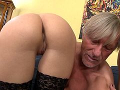 Old and Young Action with an Old Guy Having a Threesome with Two Younger Chicks