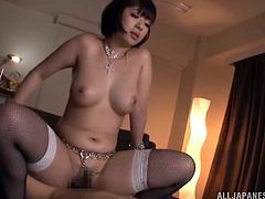 Watch this busty Asian babe riding this guy's hard cock as you hear her moan and get a boner with each sigh she lets out.