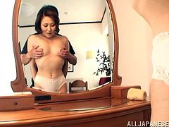Voracious Japanese wench gets her slit licked and provides man with great blowjob. Then she gets plowed mish and rides cock in a cowgirl pose before getting doggyfucked.