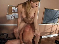 Slutty student learns a lesson in fucking as her teacher gives her a hard time and then a hard cock.