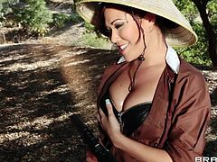 Busty Asian hottie London Keyes is having a great time with James Deen on a bank of a river. London drives James crazy with a blowjob, then lets him fuck her cunt from behind.
