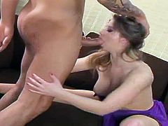 Sunny Lane is a hot pornstar with crazy blowjob and deepthroating skills. She lays on the back to get fucked missionary for starters. Her partner's cock goes balls deep.