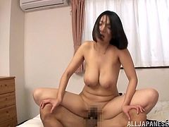 Big-breasted Japanese mom Mio Takahashi lets three dudes rub her cunt in hardcore gangbang clip. After that she sucks the guys' schlongs and gets fucked doggy style and in the missionary pose.