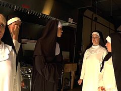 This nasty nun deepthroats a huge cock and gets her yummy feet sucked while she gets her delicious little asshole toyed hard.