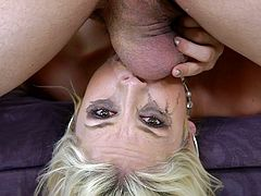 If hardcore, rough blowjobs are what you like to see, then keep watching Sarah Vandella. The bitch gets gagged with a big cock, making her makeup run. She continues getting her throat pounded, until she gets her prize: a thick, sticky load of cum on her pretty face. A fitting end, wouldn't you say?