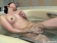 Chika Arimura wanted to take a shower but she preferred to take a bath. This Asian Japanese chick masturbates and fingers her hairy pussy hardcore.