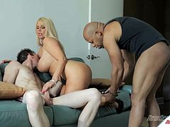 Check out this hardcore interracial scene where the busty milf Karen Fisher is fucked by a black monster cock as her cuckold man watches her having fun.