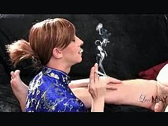 Luci May brings you a hell of a free porn video where you can see how this alluring brunette shemale smokes and sucks a hard cock while assuming very hot poses.