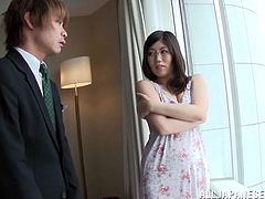 Plump Japanese hussy Chihaya Yutsuk, wearing glasses, lets a man play with her big and soft natural tits. After that they have sex in the missionary and other poses.
