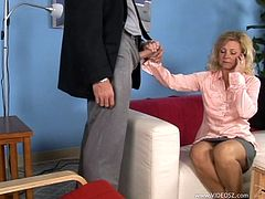The horny mature woman Katie enjoys a hard cock up her filthy mouth and turns around to get a yummy doggystyle fuck just how she likes it.