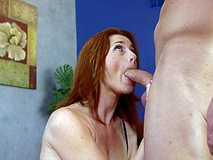 You know the classic scene, where the repair guy comes and does his job, but the sexy woman in distress doesn't have any money? Well here it is again, but this time the hot babe is a fiery redheaded milf named CiCi and she has a very big tool to work with. Still, she sucks his cock, like a champion.
