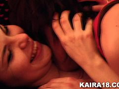What's hotter than two teens fucking like crazy? Two hot emo teens! Meet our Kaira and her slutty gf. These two young and sensual teens show us how they like to do it in front of the camera and damn, they are loving it. Kaira taunts her girl's pussy with a few mean licks and prepares her for a lot more