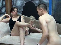 Long haired dirty shemale bitch with tiny titties provided her thirsting Asian partner with solid foot job. Have a look at that dirty TS sex in Fame Digital sex clip!