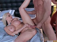 Check out this amazing hardcore scene where these two beautiful ladies share this guy's thick cock in a threesome that leaves both of them out of breath.