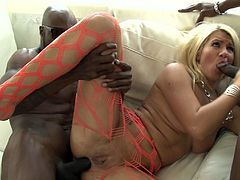 Hot blonde Layla Price, wearing fishnet pantyhose, shows her cock-sucking skills to Wesley Pipes and Dsnoop. After that the men double penetrate the bitch and cum in her mouth.
