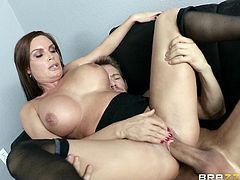 Check out this hardcore scene where the busty Diamond Foxxx is eaten out before sucking and riding a guy's thick cock.