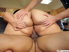 BBW Dreams brings you a hell of a free porn video where you can see how the horny BBW brunette Anastasia Vanderbust rides a cock in front of her man while assuming very hot poses.