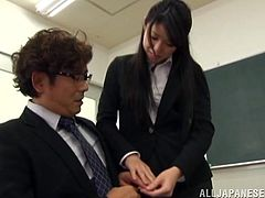 The Japanese teachers were in their classroom and end up Fucking. The chick gets fucked in her hairy pussy and the stud receives a hot cock handjob.