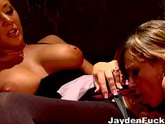 This video contains kinky strapon fucking featuring the busty Jayden Jaymes and her gorgeous friend who are into sex toys. Look for the scenes of these two moaning in pleasure.