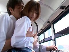 Nanami Kawakam enjoys upskirt banging with a stranger in a bus