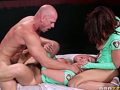 Check out this hardcore scene where these two cock thirsty nurses share a guy's massive cock in a threesome that leaves them out of breath.