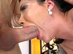 Aleksa Nicole gets a fingering on her wet pussy. She blowjobs a monster cock and gets a cum in the mouth.