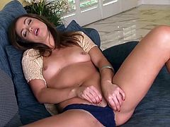 Slowly removing her wet panties, Alyssa Reece starts rubbing her puffy twat in a gorgeous solo masturbation scene