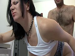 Have fun with this hardcore scene where this horny brunette is fucked by her boyfriend as you hear her moan on camera.