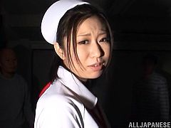 The gorgeous Asian nurse Chizuru Sakura enjoys two hard cocks in this nasty threesome and ends up getting her perfect ass covered with hot cum.