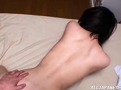 Trashy dark-haired slut provides cocky dude with awesome blowjob and gets her dripping wet poontang hammered doggystyle. Then she lies on the back getting pounded mish.