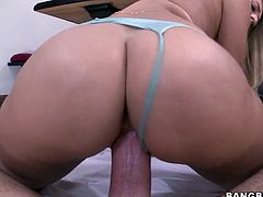 With a big round ass, a pretty face and some nice tits Natalia needs to get satisfied. She is sitting in her knees with her sexy blue panties slightly removed while her partner fucks her wet delicious vagina. He penetrates her deep and hard from behind while she moans like a thirsty whore. Will we see some cum on her face?