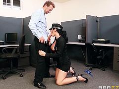 Do girls wearing uniforms make you horny? Meet a wild beauty with black hair called Jayden. Her biggest gift are the wonderful breasts coming out of the red sexy bra. So nice to suck her titties! The greatest scene is when the naughty brunette gets on knees and begins sucking a guy's cock. Watch!