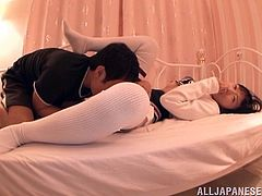 Asian hottie Miyu Nakatani is enjoying a hardcore doggystyle after a cheer leading practice in uniform. She licks a ball and blowjobs a hot Japanese cock.
