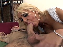 Blonde MILF Donna slobbers on this guy's cock then she gets her anal cherry popped when she gets on top and takes his shaft in her butt.