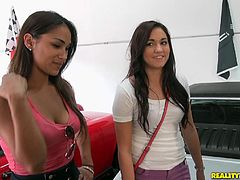 Make sure you check out this hardcore reality clip where these two sexy brunettes are fucked by a big cock in a public threesome in a mechanic shop.