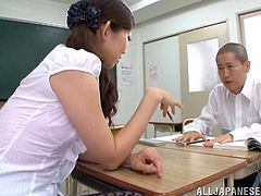 Nasty Japanese girl Natsumi Inagaw, wearing a miniskirt and stockings, is playing dirty games with a man indoors. She lets the guy rub her hairy snatch, then they fuck in the missionary pose on a desk.