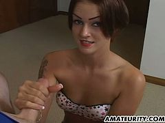 Share this with your friends! A dirty babe, with small boobs wearing panties, moves her hands up and down, over and over again to give pleasure.