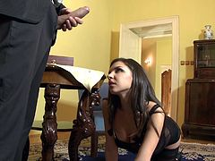 Marvelous babes with shaved pussy in black stocking gets cozy inside a room before getting her asshole licked and drilled hardcore while she moans